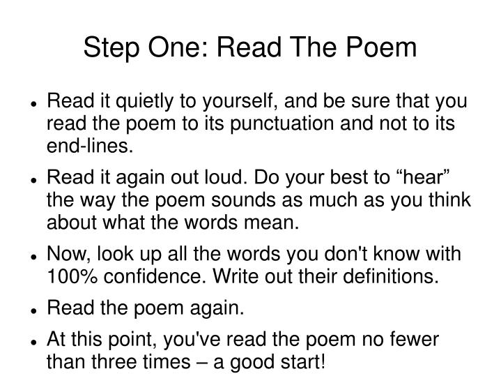 Step one read the poem