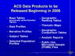 acs data products to be released beginning in 2006