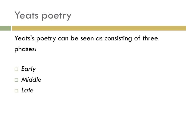 yeats as symbolist poet Yeats symbolism of poetry - download as pdf file (pdf), text file (txt) or read online.