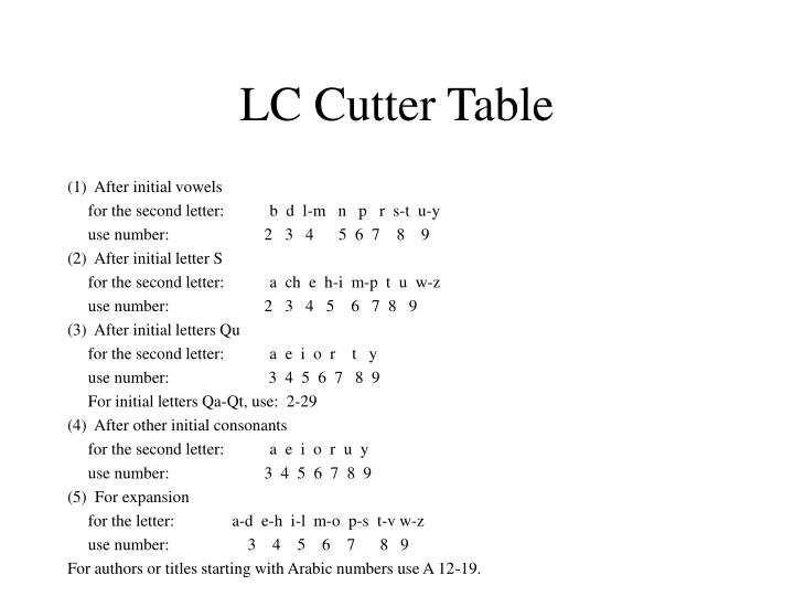 LC Cutter Table