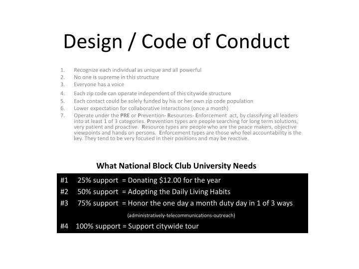 design code of conduct n.