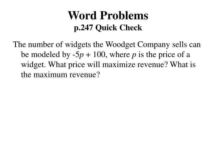 Word problems p 247 quick check