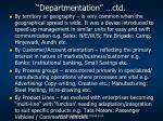 departmentation ctd