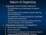 nature of organizing
