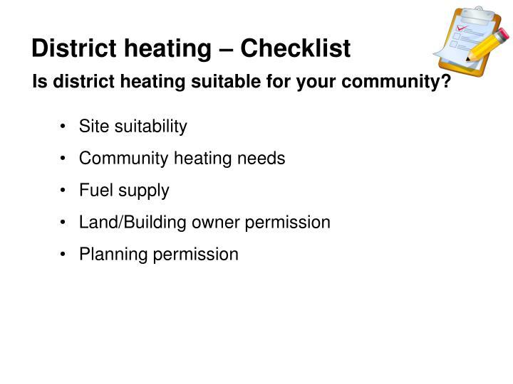 District heating – Checklist