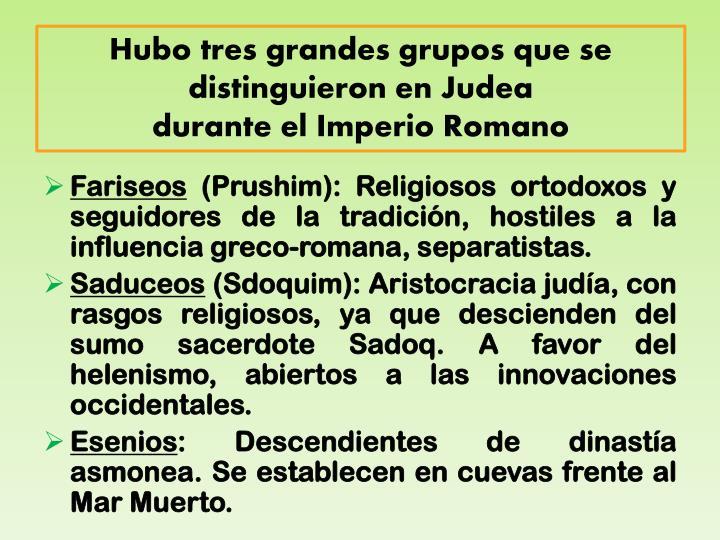 Hubo tres grandes grupos que se distinguieron en Judea