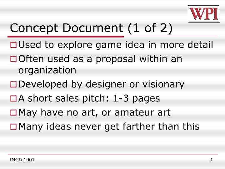 PPT IMGD Game Design Documents PowerPoint Presentation ID - Concept document game design