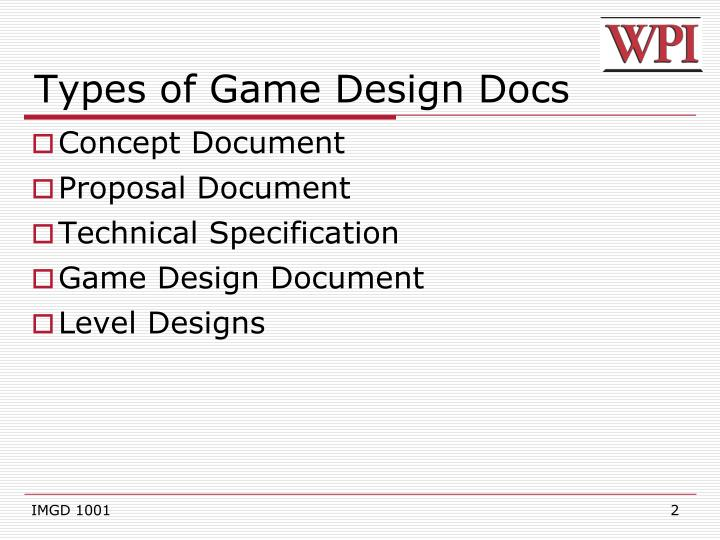 PPT IMGD Game Design Documents PowerPoint Presentation ID - Game concept document