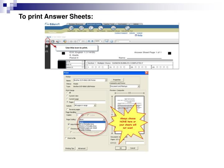 To print Answer Sheets: