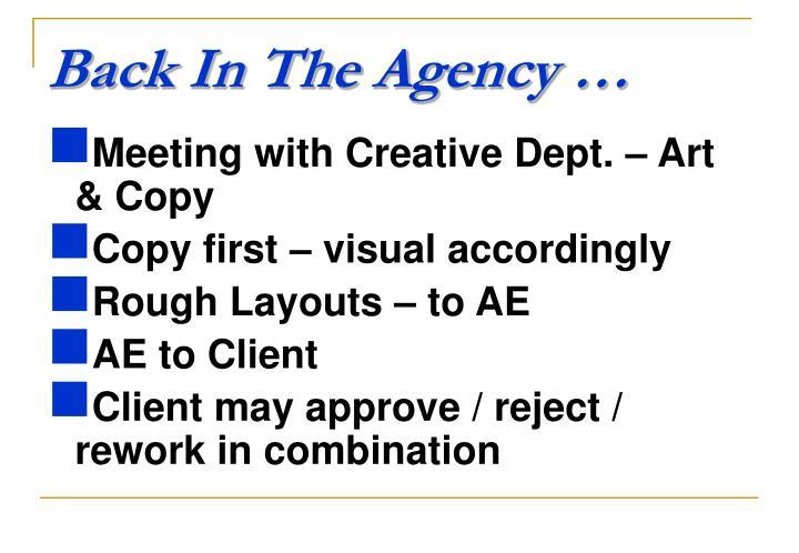 Back In The Agency …