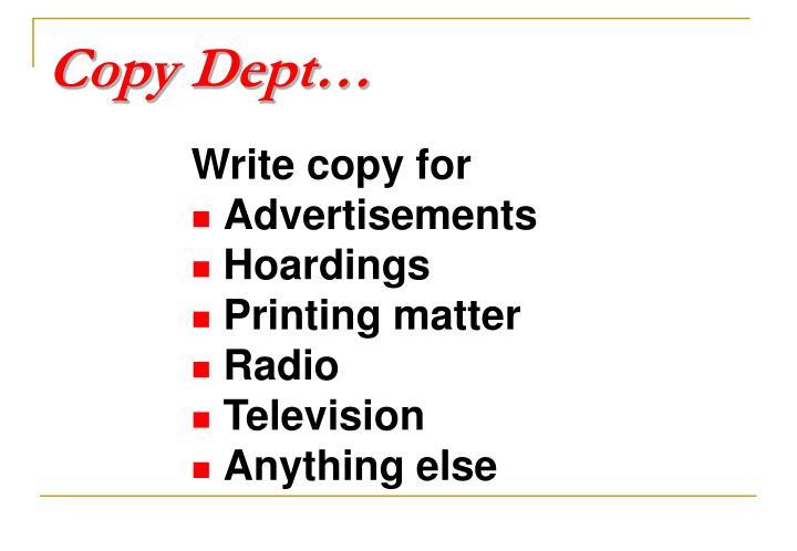 Copy Dept…