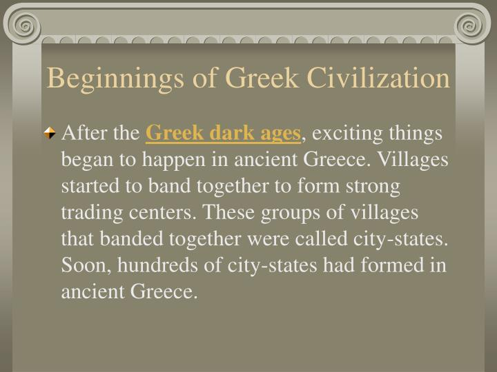 Beginnings of greek civilization