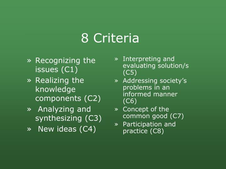 Recognizing the issues (C1)