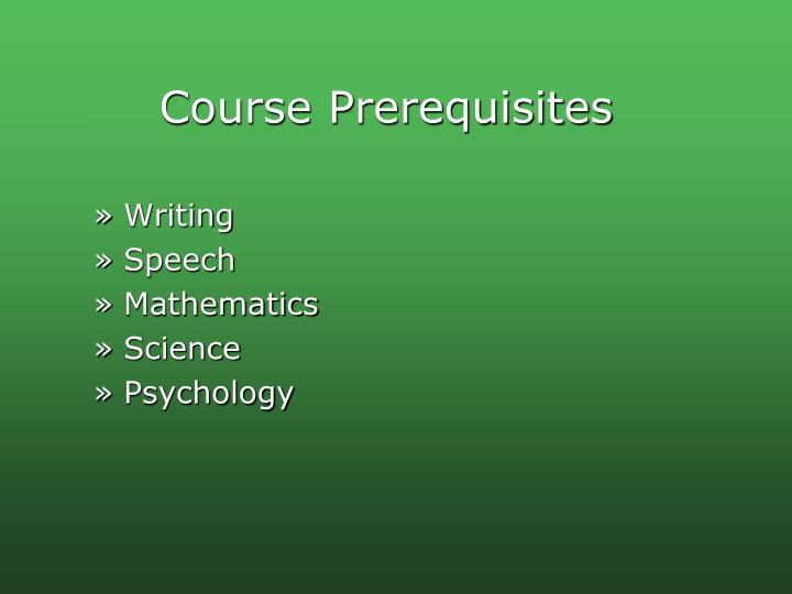 Course Prerequisites