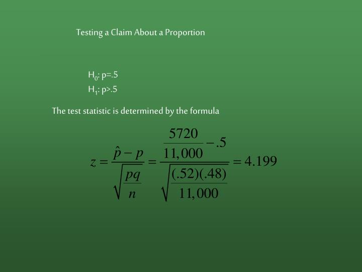 Testing a Claim About a Proportion