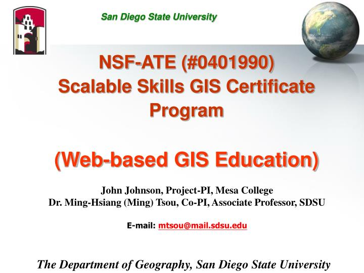 Ppt Nsf Ate 0401990 Scalable Skills Gis Certificate Program