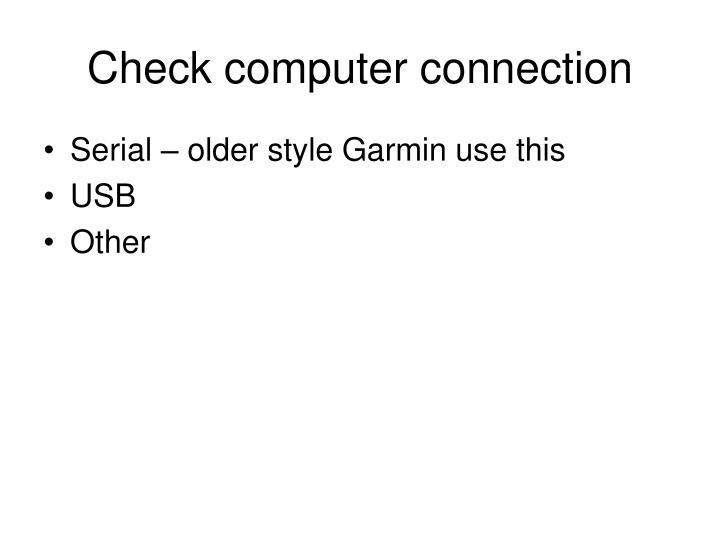 Check computer connection