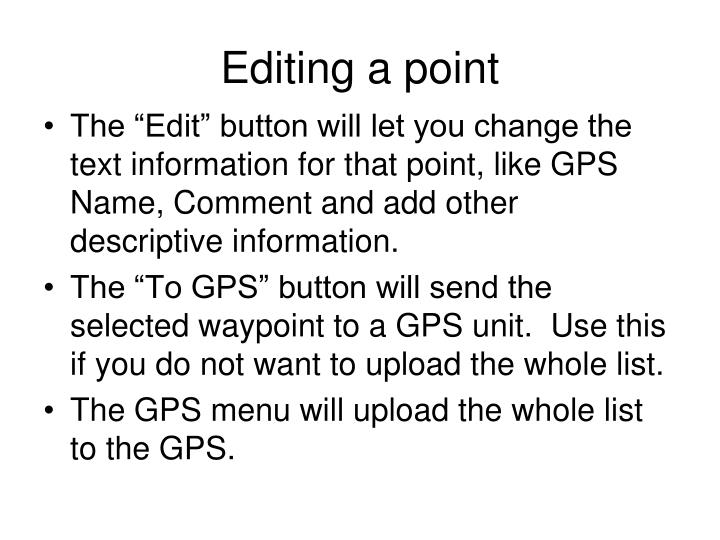 Editing a point