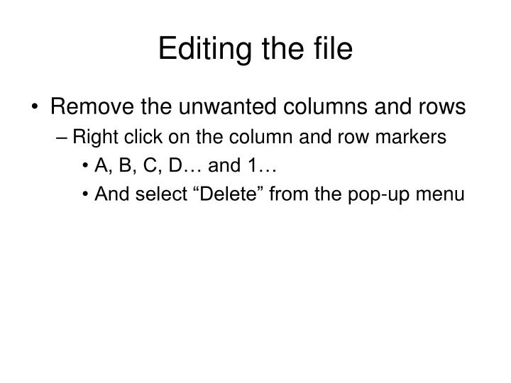 Editing the file