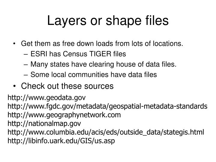 Layers or shape files