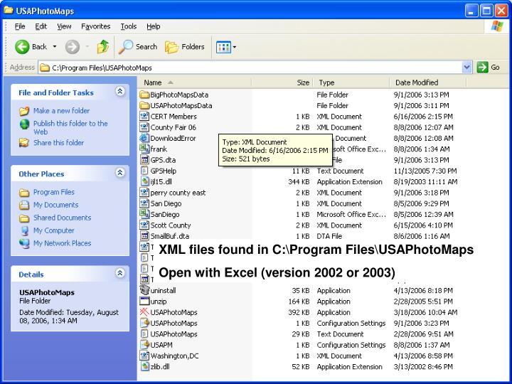 XML files found in C:\Program Files\USAPhotoMaps