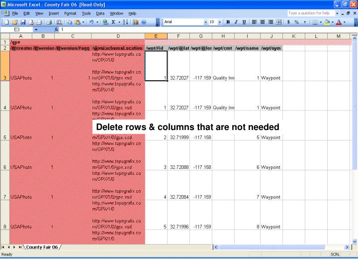 Delete rows & columns that are not needed