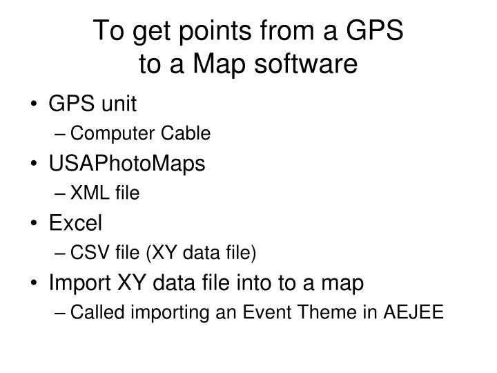To get points from a gps to a map software