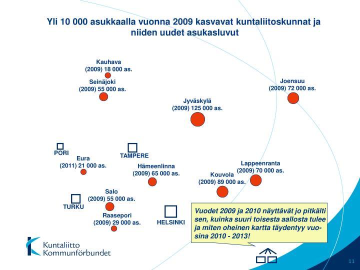 Yli 10 000 asukkaalla vuonna 2009 kasvavat kuntaliitoskunnat ja