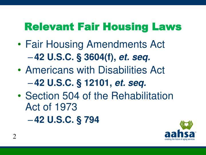 Relevant Fair Housing Laws