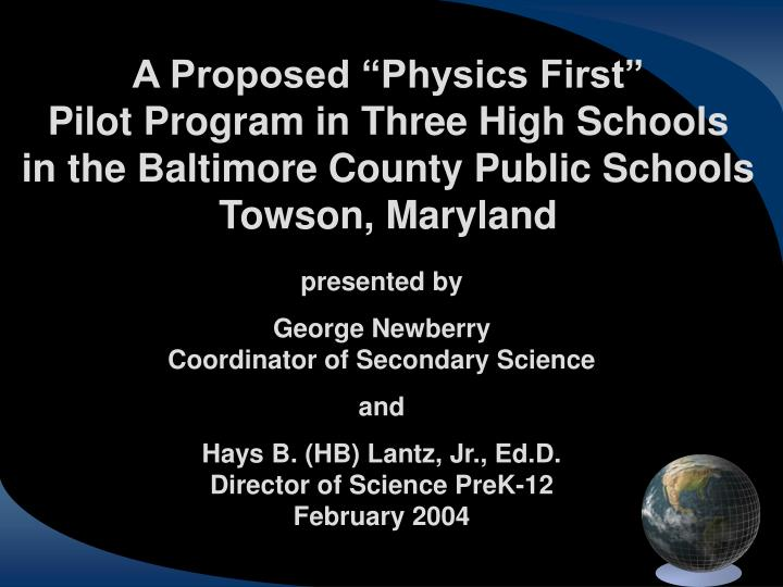 """A Proposed """"Physics First"""""""