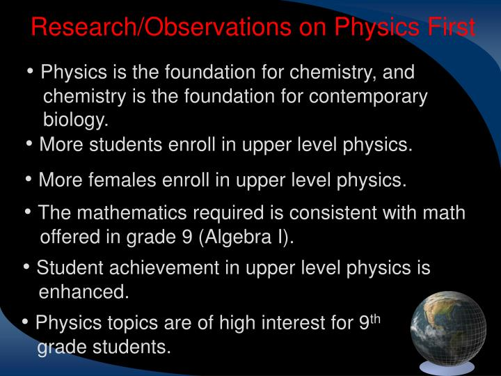 Research/Observations on Physics First