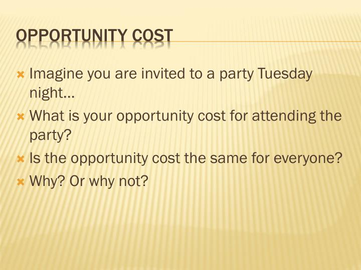 Imagine you are invited to a party Tuesday night…