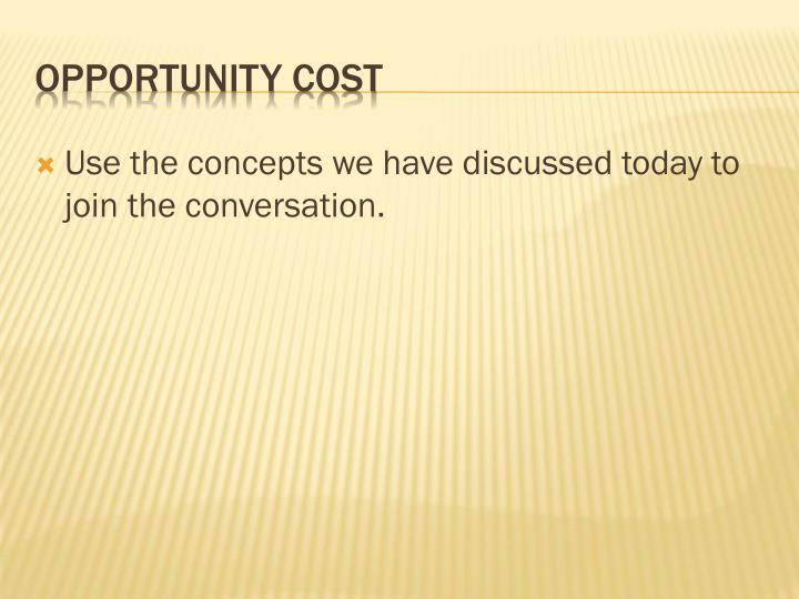 Use the concepts we have discussed today to join the conversation.