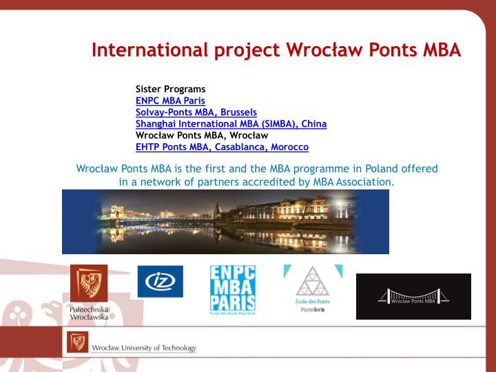 International project Wrocław Ponts MBA