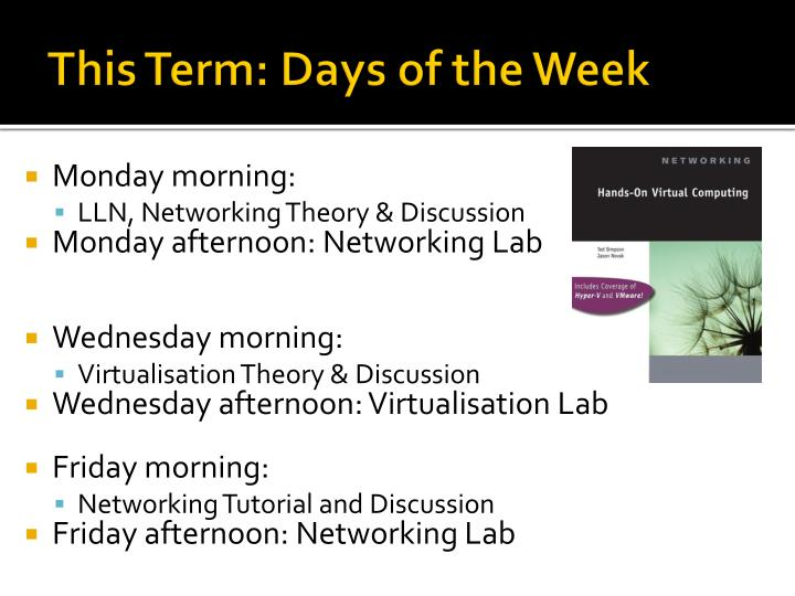 This Term: Days of the Week