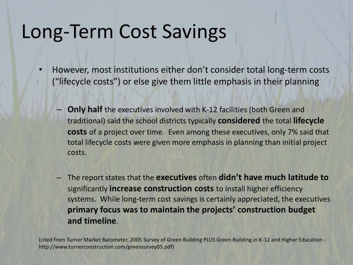 Long-Term Cost Savings