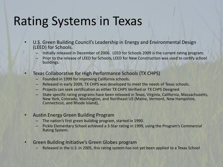 Rating Systems in Texas