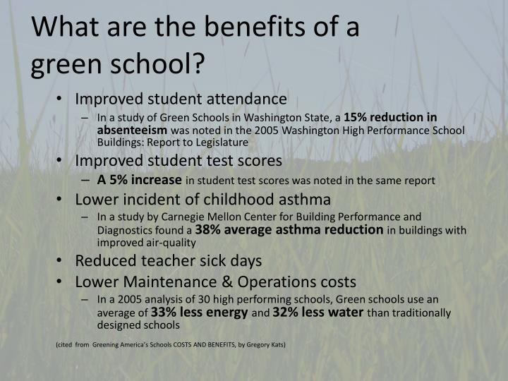 What are the benefits of a green school