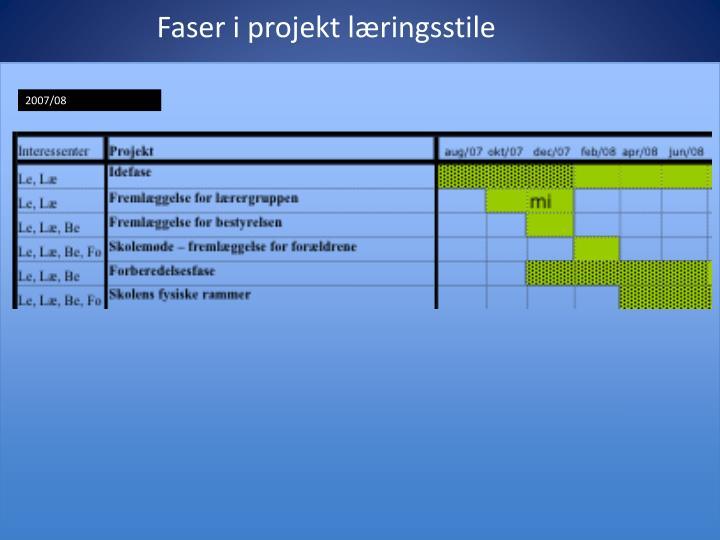 Faser i projekt læringsstile