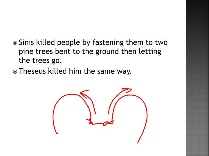 Sinis killed people by fastening them to two pine trees bent to the ground then letting the trees go.