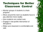techniques for better classroom control1