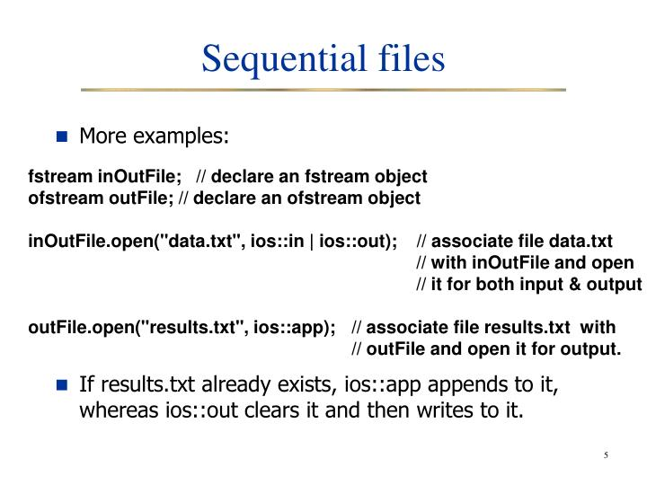 Sequential files