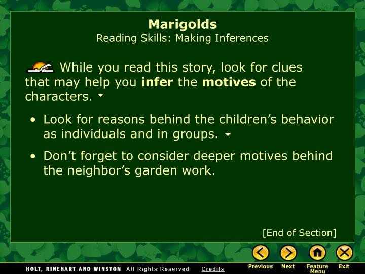 marigolds characters