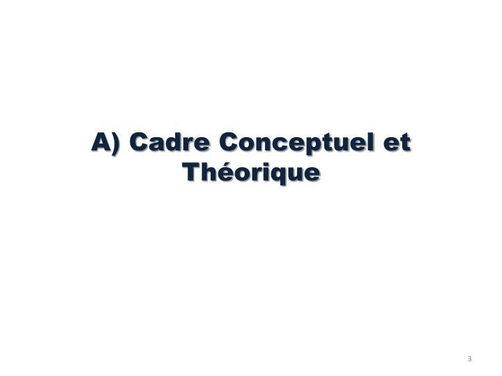 A cadre conceptuel et th orique