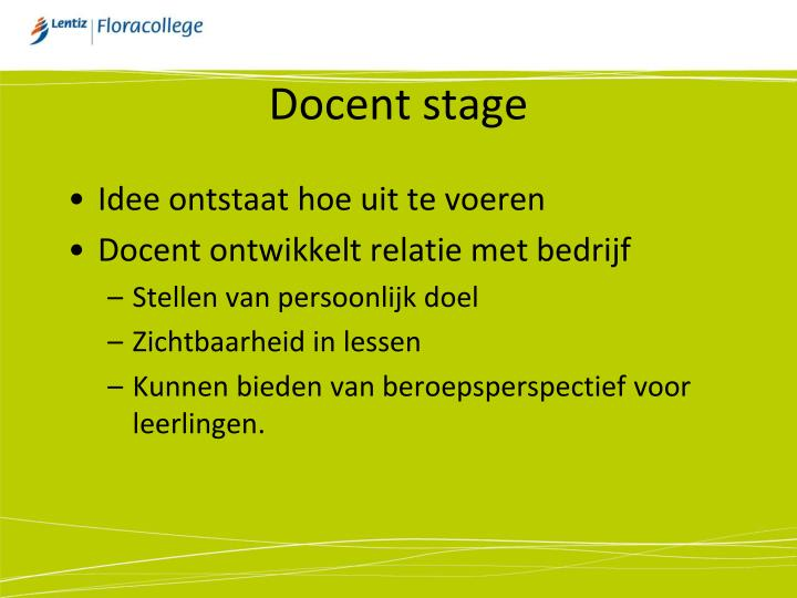 Docent stage