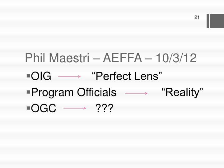 Phil Maestri – AEFFA – 10/3/12