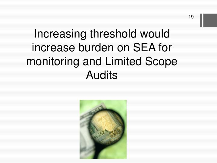 Increasing threshold would increase burden on SEA for monitoring and Limited Scope Audits