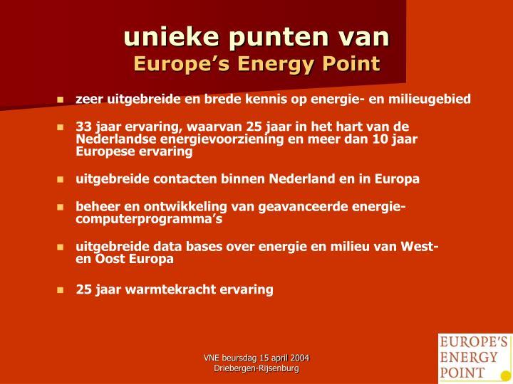 Unieke punten van europe s energy point