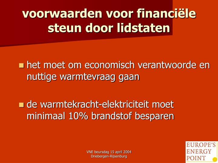 voorwaarden voor financiële steun door lidstaten