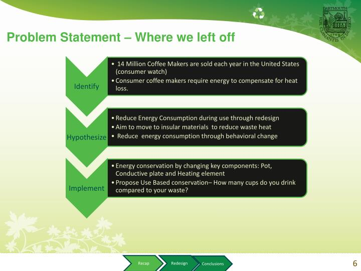 Problem Statement – Where we left off